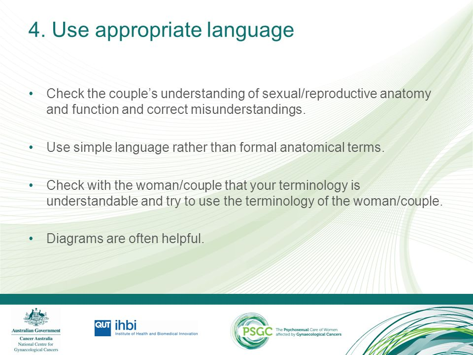 4. Use appropriate language Check the couple's understanding of sexual/reproductive anatomy and function and correct misunderstandings. Use simple lan
