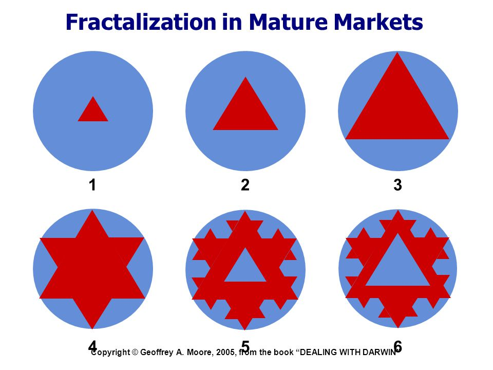 """Copyright © Geoffrey A. Moore, 2005, from the book """"DEALING WITH DARWIN"""" Fractalization in Mature Markets PC 123 456"""