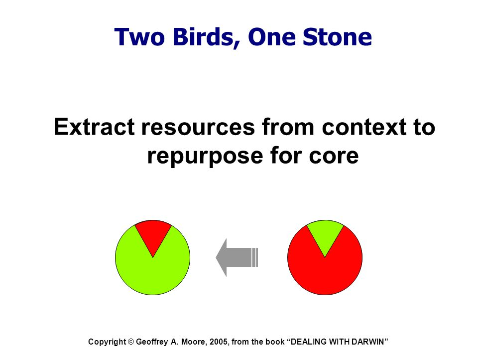 """Copyright © Geoffrey A. Moore, 2005, from the book """"DEALING WITH DARWIN"""" Two Birds, One Stone Extract resources from context to repurpose for core"""