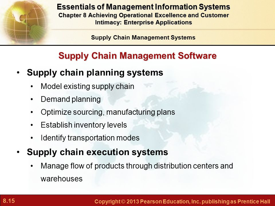 8.15 Copyright © 2013 Pearson Education, Inc. publishing as Prentice Hall Supply Chain Management Software Supply chain planning systems Model existin