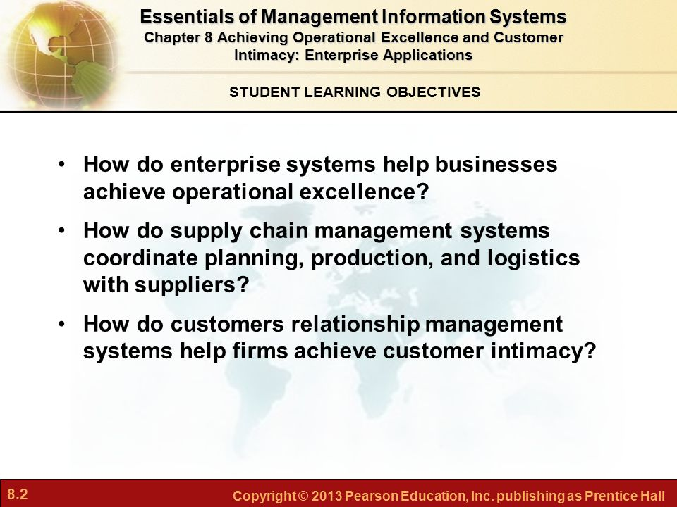 8.2 Copyright © 2013 Pearson Education, Inc. publishing as Prentice Hall STUDENT LEARNING OBJECTIVES Essentials of Management Information Systems Chap