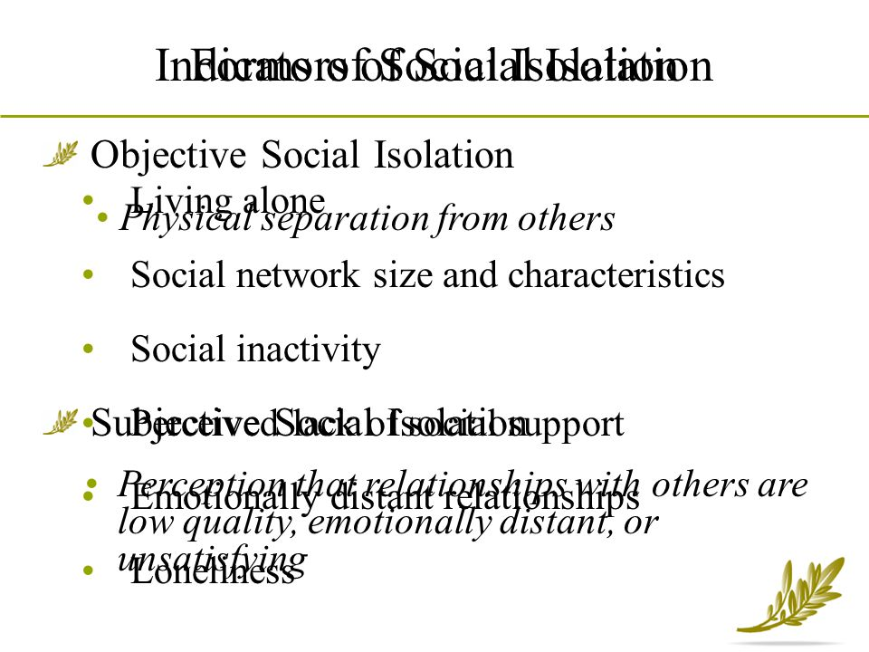 Living alone Social network size and characteristics Social inactivity Perceived lack of social support Emotionally distant relationships Loneliness I