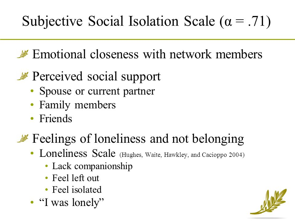 Subjective Social Isolation Scale (α =.71) Emotional closeness with network members Perceived social support Spouse or current partner Family members