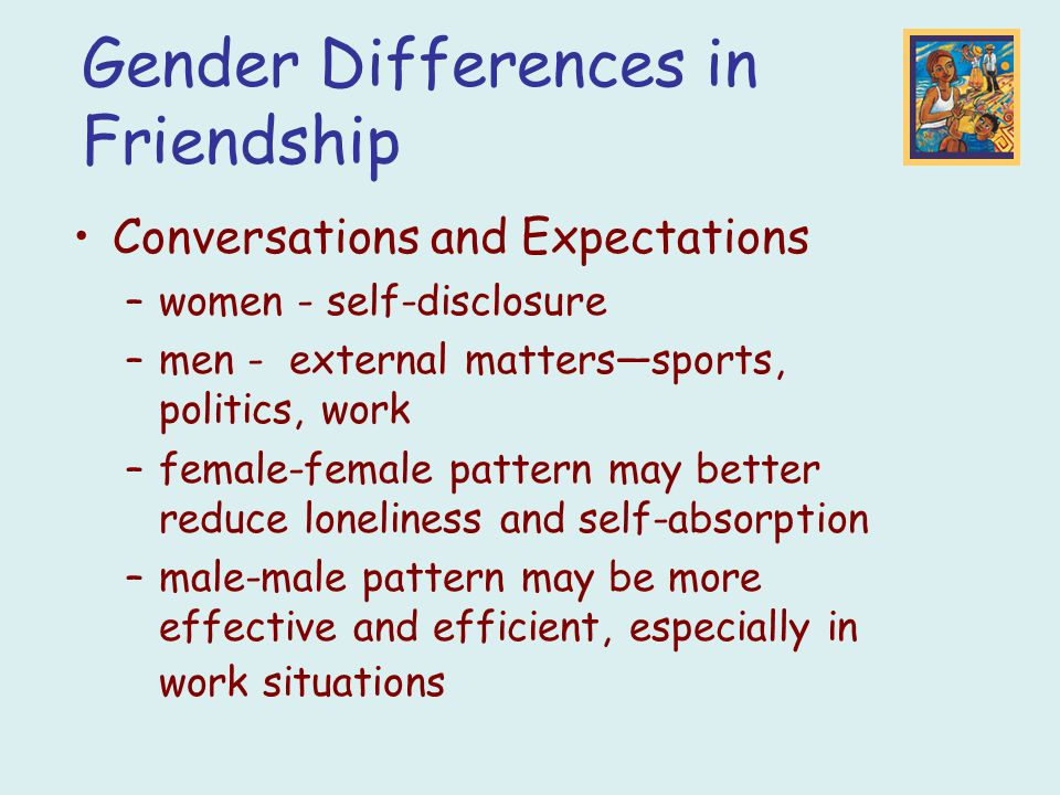 Gender Differences in Friendship Conversations and Expectations –women - self-disclosure –men - external matters—sports, politics, work –female-female