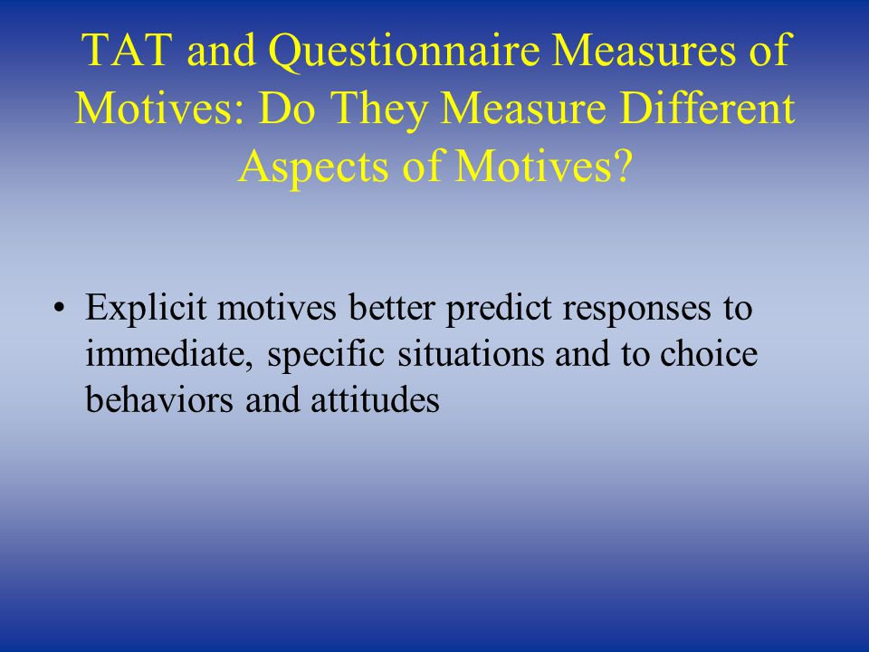 TAT and Questionnaire Measures of Motives: Do They Measure Different Aspects of Motives.