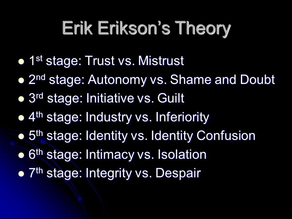 Erik Erikson's Theory 1 st stage: Trust vs.Mistrust 1 st stage: Trust vs.
