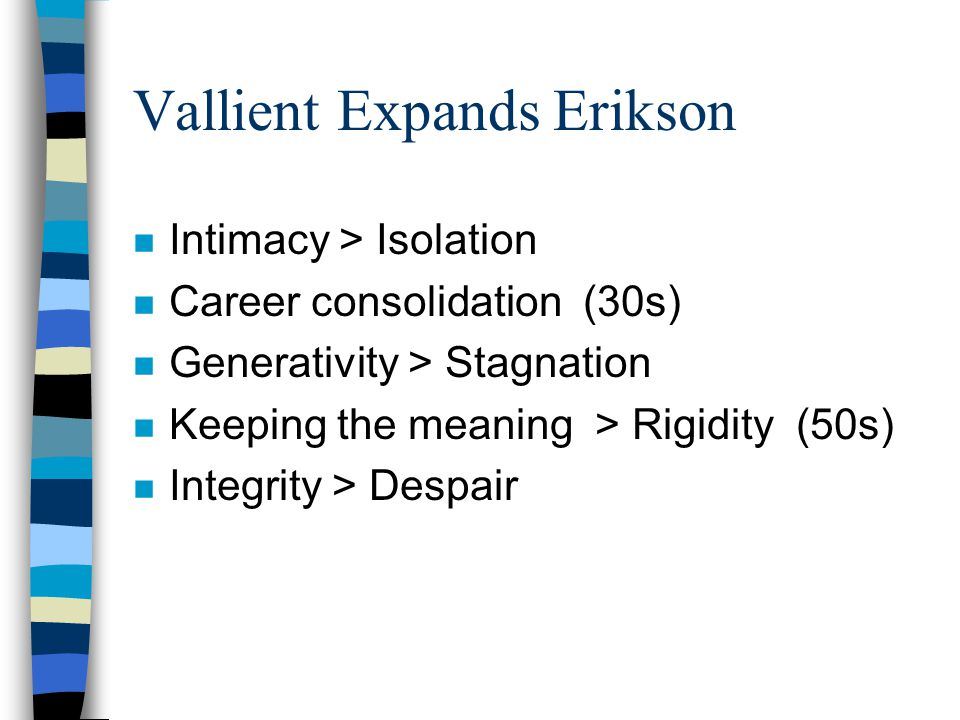 Vallient Expands Erikson n Intimacy > Isolation n Career consolidation (30s) n Generativity > Stagnation n Keeping the meaning > Rigidity (50s) n Integrity > Despair