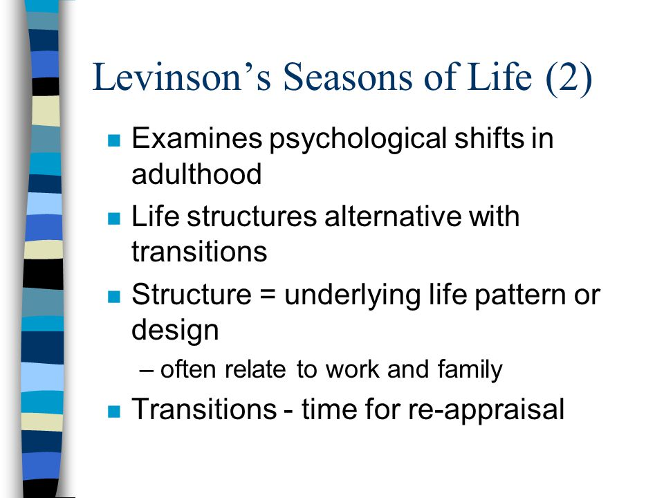 Levinson (3) Other Key Concepts n Dream - image guides decisions n Mentor n BOOM - Becoming one's own man –Timing –What about women?