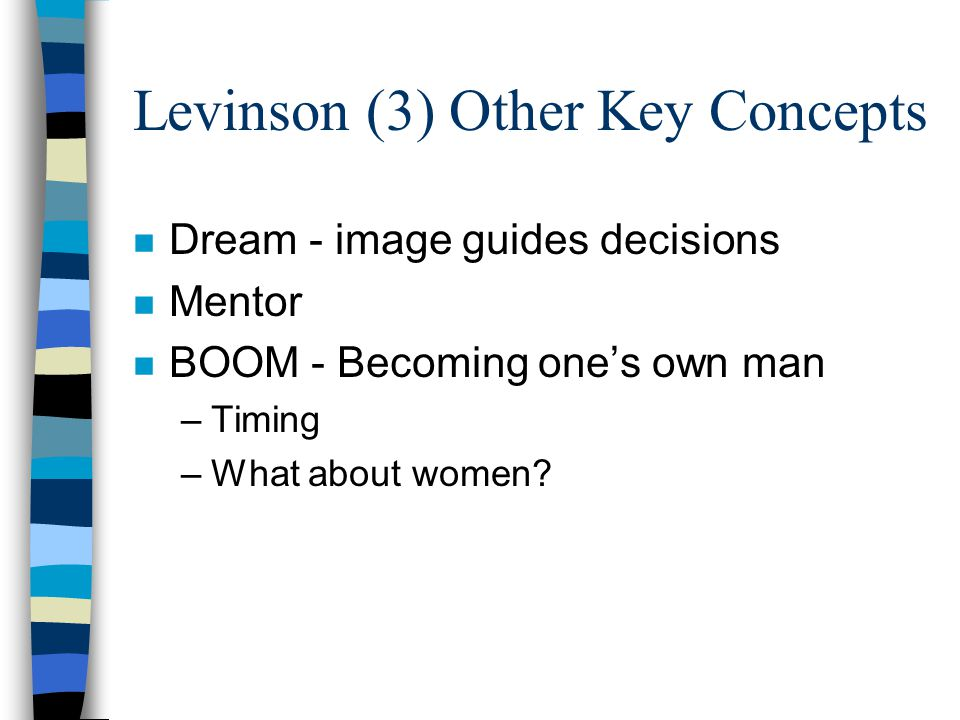 Levinson (3) Other Key Concepts n Dream - image guides decisions n Mentor n BOOM - Becoming one's own man –Timing –What about women