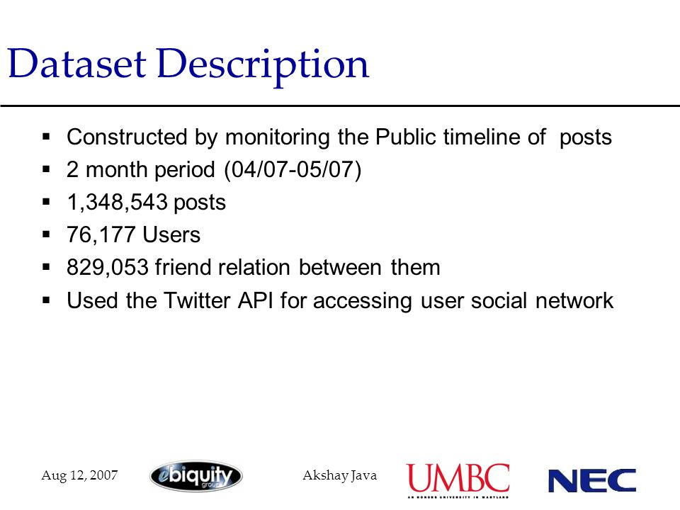 Aug 12, 2007Akshay Java Dataset Description  Constructed by monitoring the Public timeline of posts  2 month period (04/07-05/07)  1,348,543 posts