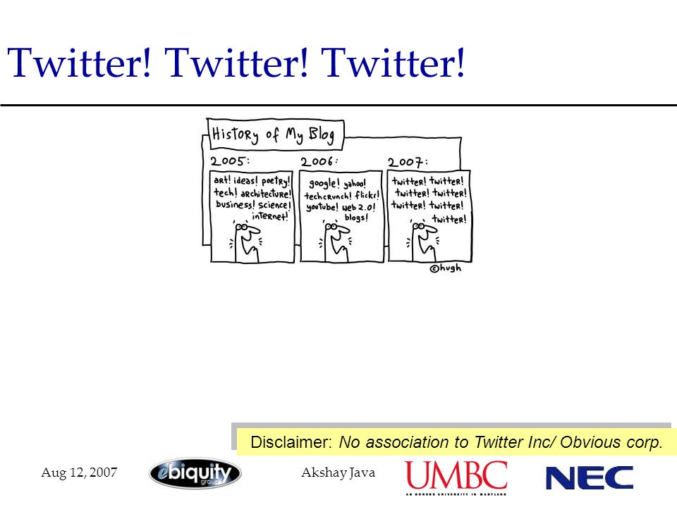 Aug 12, 2007Akshay Java Twitter! Twitter! Twitter! Disclaimer: No association to Twitter Inc/ Obvious corp.