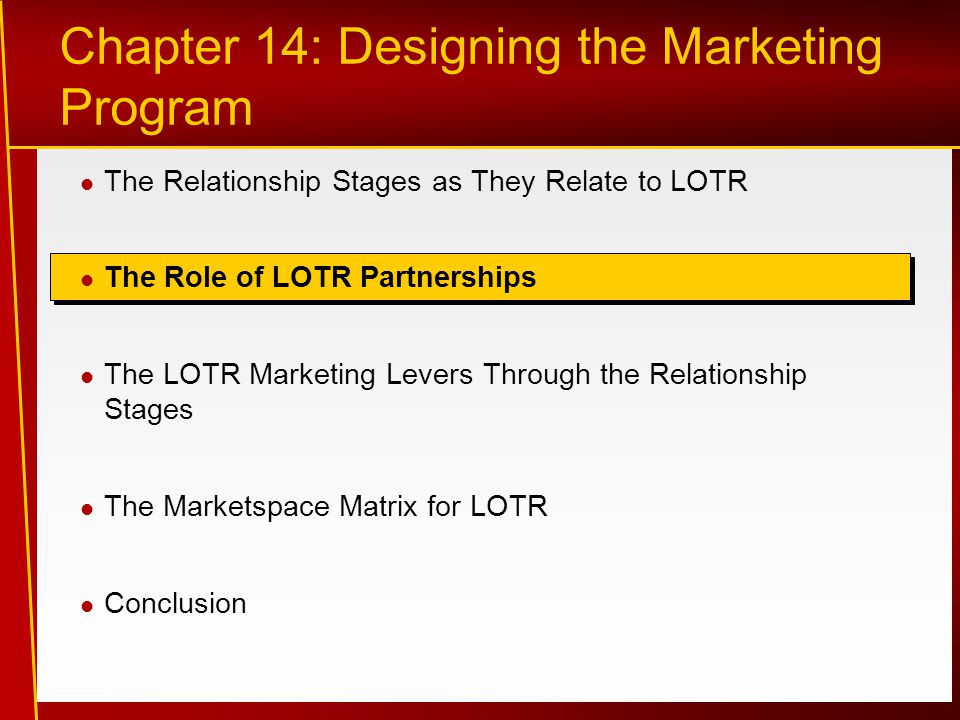 Chapter 14: Designing the Marketing Program The Relationship Stages as They Relate to LOTR The Role of LOTR Partnerships The LOTR Marketing Levers Through the Relationship Stages The Marketspace Matrix for LOTR Conclusion
