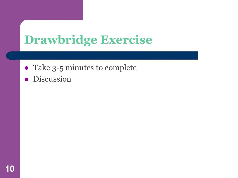 10 Drawbridge Exercise Take 3-5 minutes to complete Discussion