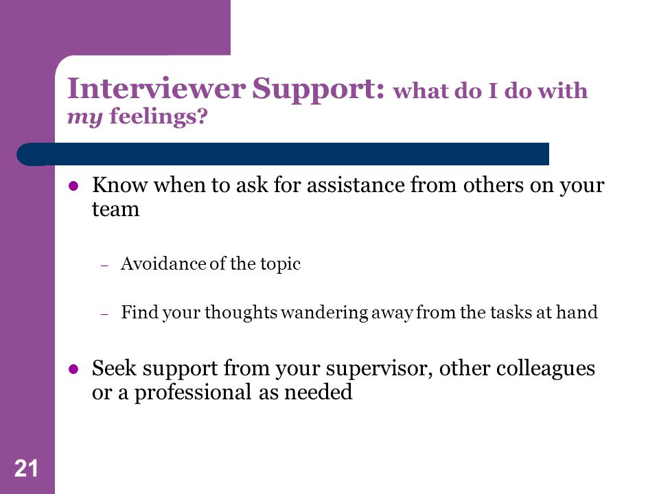 21 Interviewer Support: what do I do with my feelings.