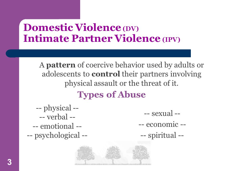 3 Domestic Violence (DV) Intimate Partner Violence (IPV) A pattern of coercive behavior used by adults or adolescents to control their partners involving physical assault or the threat of it.