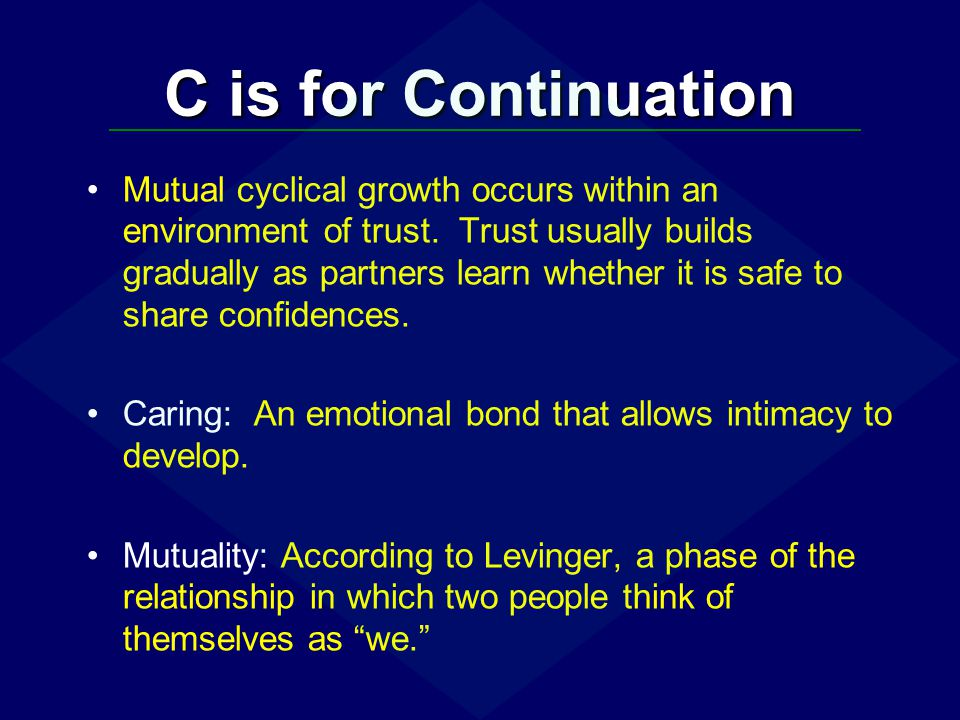 C is for Continuation Jealousy: Sexual jealousy is aroused when we suspect that an intimate relationship is threatened by a rival.