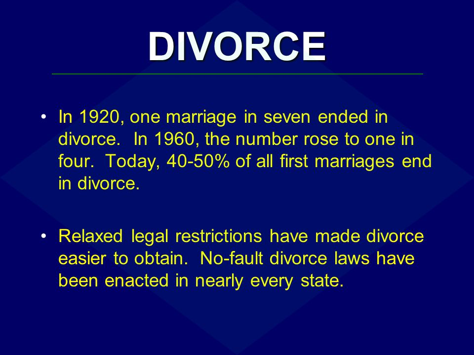 DIVORCE Why the rise in divorce.