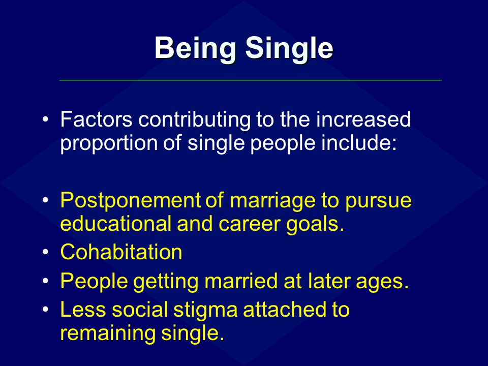 Being Single Challenges of being single: Stereotypes (if you're a single male in your late 30s you must be gay, right?).