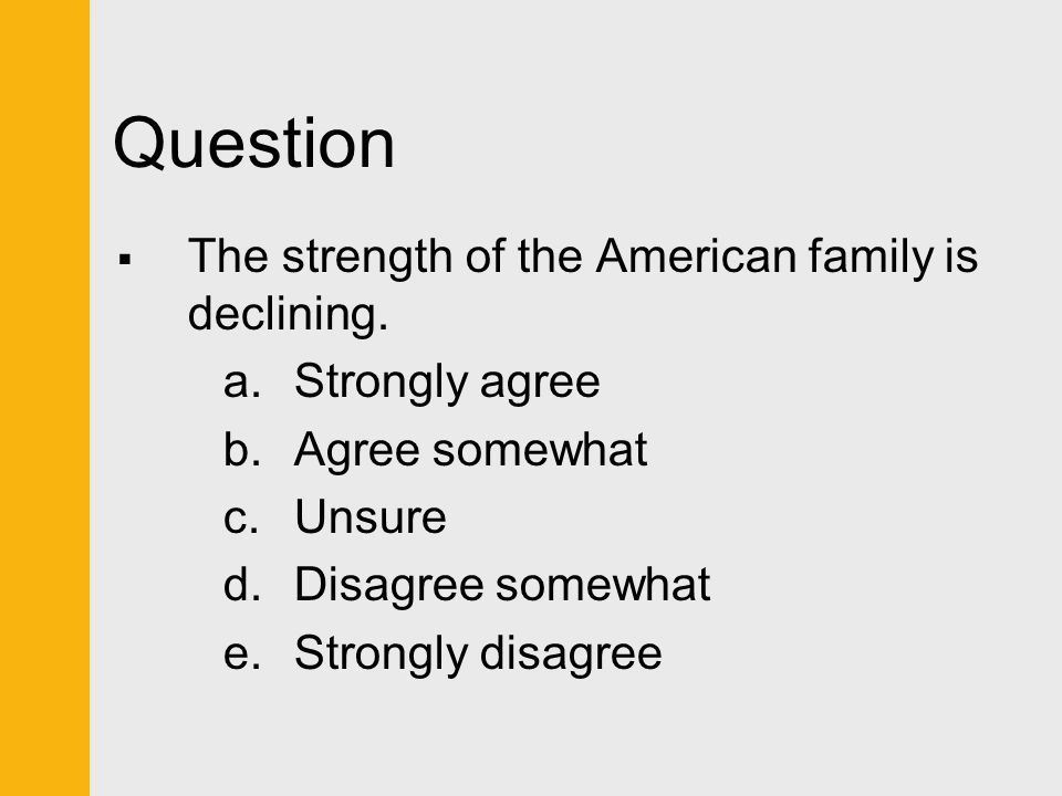 Question  The strength of the American family is declining. a.Strongly agree b.Agree somewhat c.Unsure d.Disagree somewhat e.Strongly disagree