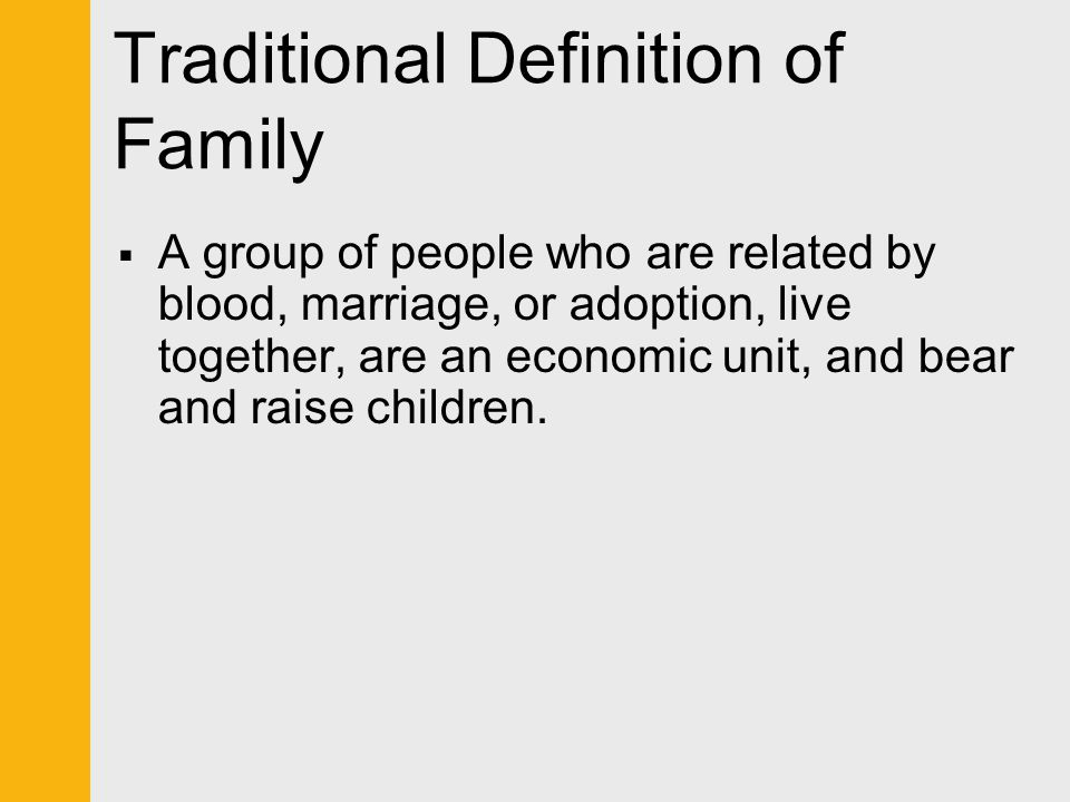 New Definition of Family  Relationships in which people live together with commitment, form an economic unit and care for any young, and consider their identity to be significantly attached to the group.