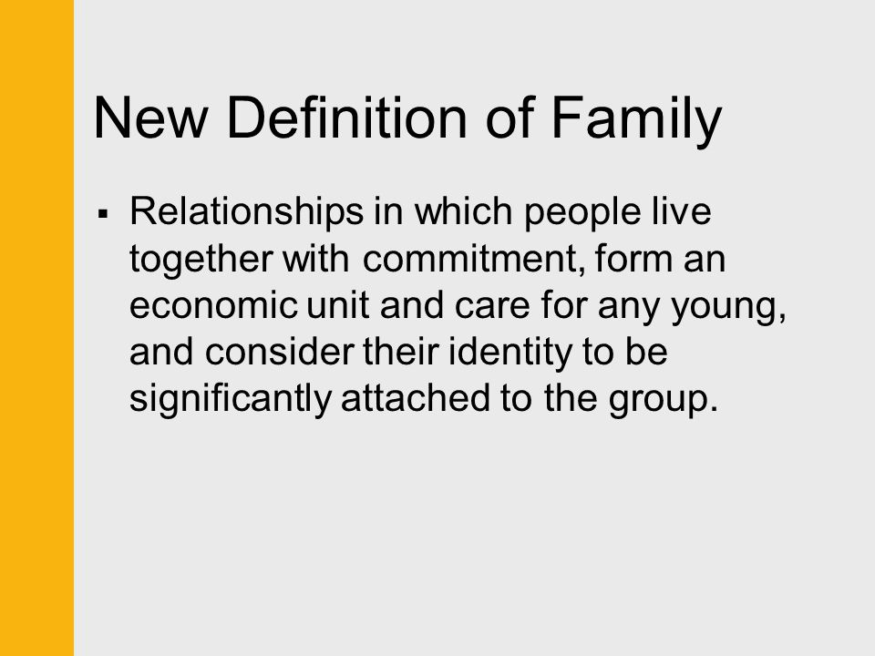 Answer: d  Families that consist of a husband, wife, and children from previous marriages and (if any) children from the new is called a blended family.