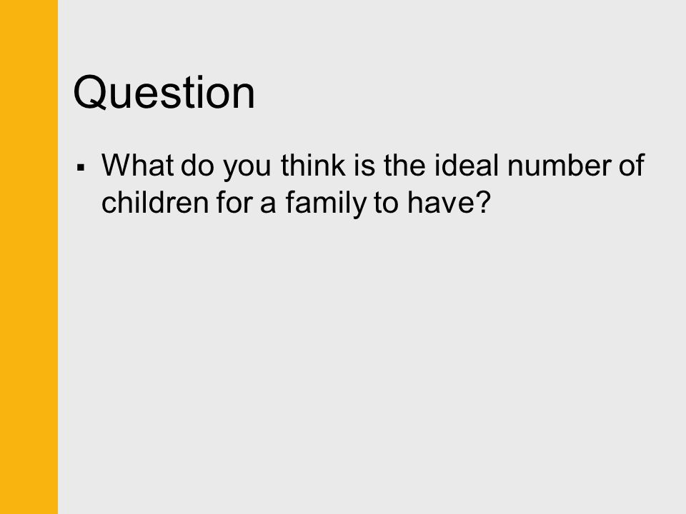 Question  What do you think is the ideal number of children for a family to have?
