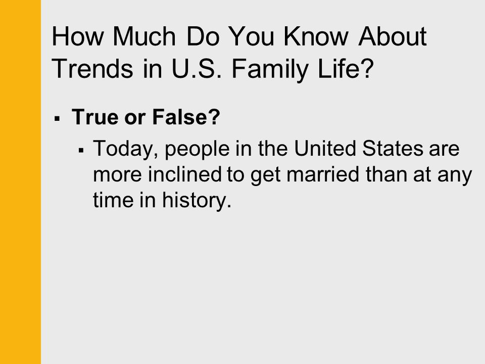 Question  The strength of the American family is declining.