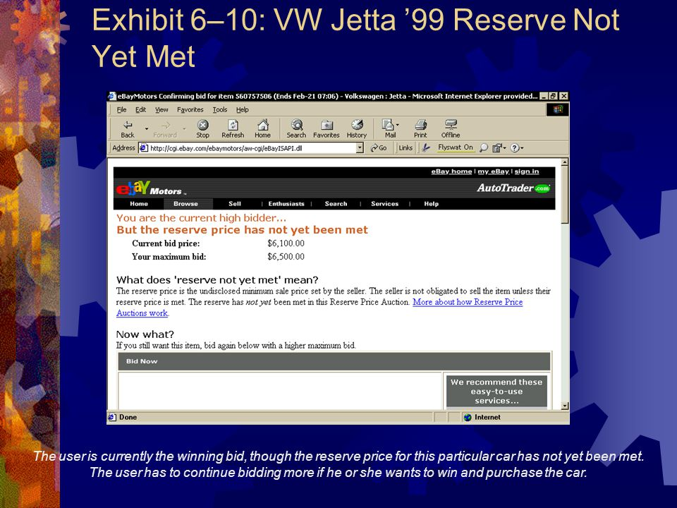 Exhibit 6–10: VW Jetta '99 Reserve Not Yet Met The user is currently the winning bid, though the reserve price for this particular car has not yet bee