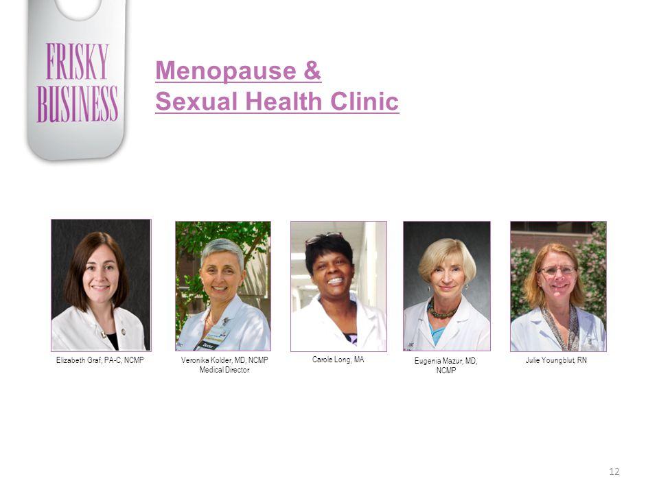 Menopause & Sexual Health Clinic 12 Elizabeth Graf, PA-C, NCMPVeronika Kolder, MD, NCMP Medical Director Carole Long, MA Eugenia Mazur, MD, NCMP Julie Youngblut, RN