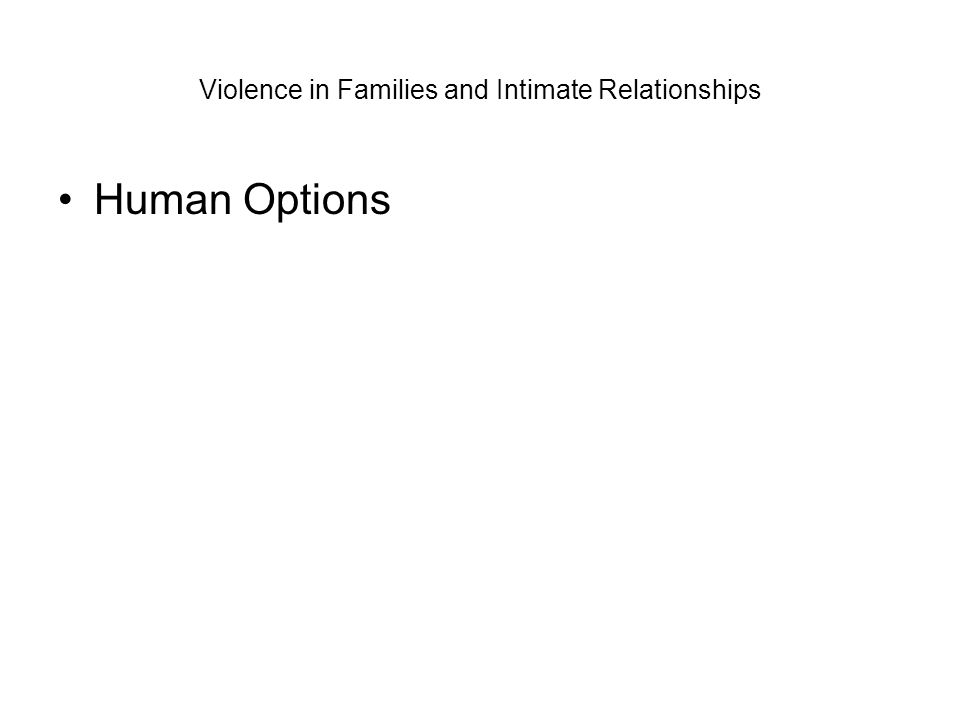Violence in Families and Intimate Relationships Human Options