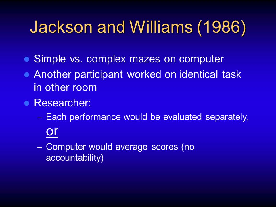Jackson and Williams (1986) Simple vs. complex mazes on computer Another participant worked on identical task in other room Researcher: – Each perform