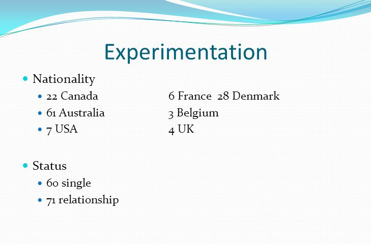 Experimentation Nationality 22 Canada6 France28 Denmark 61 Australia3 Belgium 7 USA4 UK Status 60 single 71 relationship