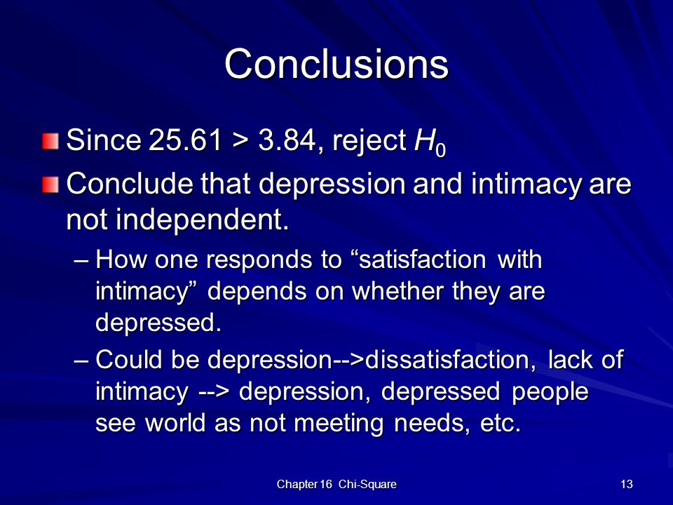 "Chapter 16 Chi-Square 13 Conclusions Since 25.61 > 3.84, reject H 0 Conclude that depression and intimacy are not independent. –How one responds to ""s"