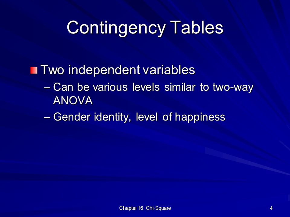 Chapter 16 Chi-Square 4 Contingency Tables Two independent variables –Can be various levels similar to two-way ANOVA –Gender identity, level of happiness