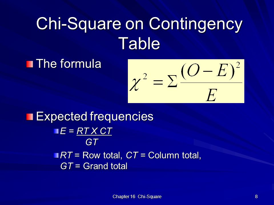 Chapter 16 Chi-Square 8 Chi-Square on Contingency Table The formula Expected frequencies E = RT X CT GT RT = Row total, CT = Column total, GT = Grand total