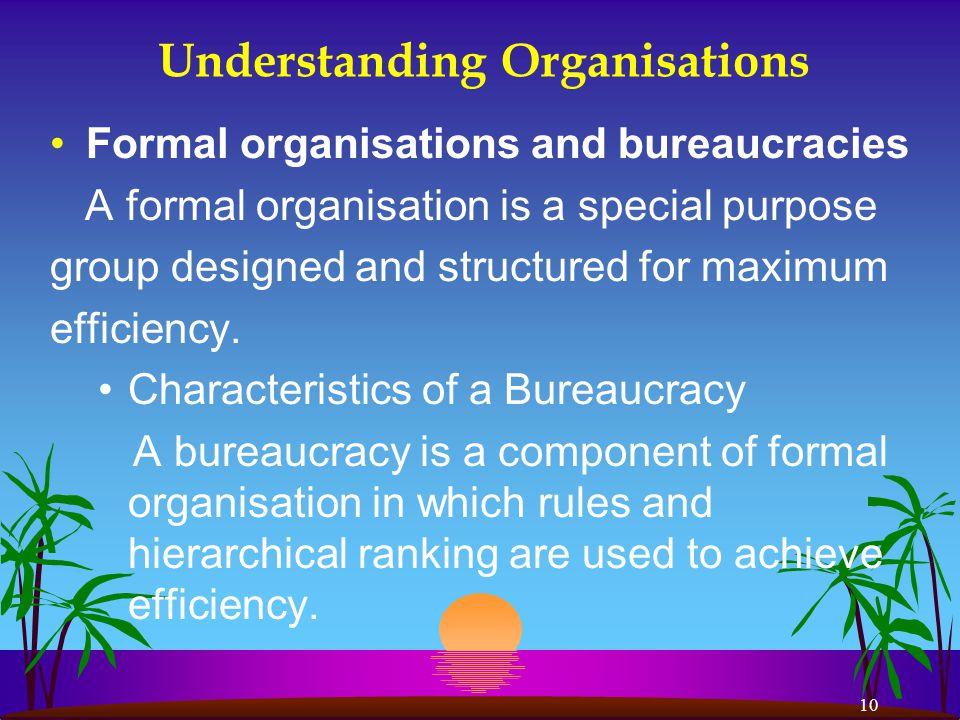 10 Understanding Organisations Formal organisations and bureaucracies A formal organisation is a special purpose group designed and structured for maximum efficiency.