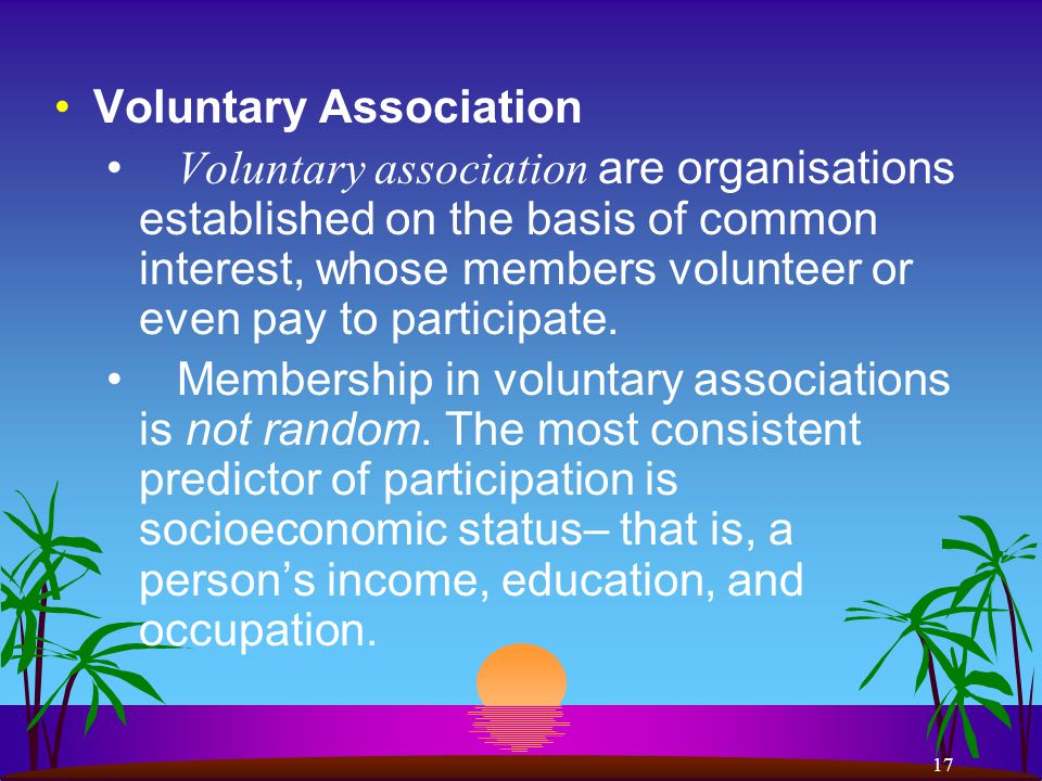 17 Voluntary Association Voluntary association are organisations established on the basis of common interest, whose members volunteer or even pay to participate.