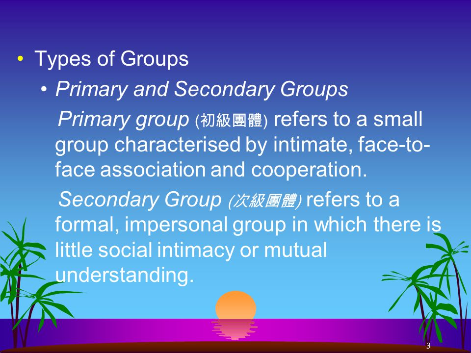 3 Types of Groups Primary and Secondary Groups Primary group ( 初級團體 ) refers to a small group characterised by intimate, face-to- face association and cooperation.
