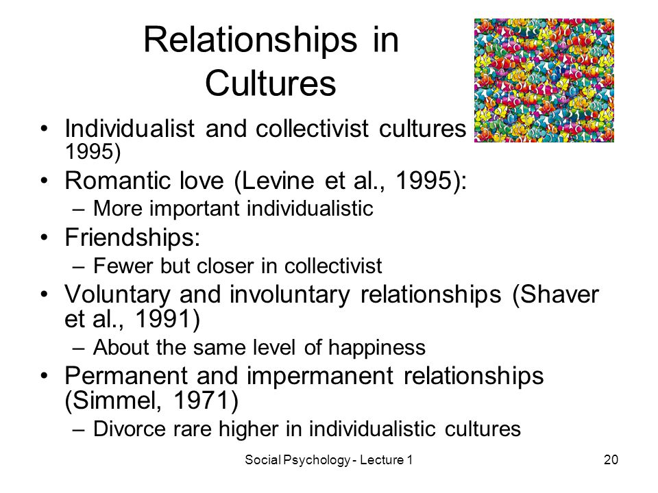 Social Psychology - Lecture 120 Relationships in Cultures Individualist and collectivist cultures (Goodwin, 1995) Romantic love (Levine et al., 1995): –More important individualistic Friendships: –Fewer but closer in collectivist Voluntary and involuntary relationships (Shaver et al., 1991) –About the same level of happiness Permanent and impermanent relationships (Simmel, 1971) –Divorce rare higher in individualistic cultures