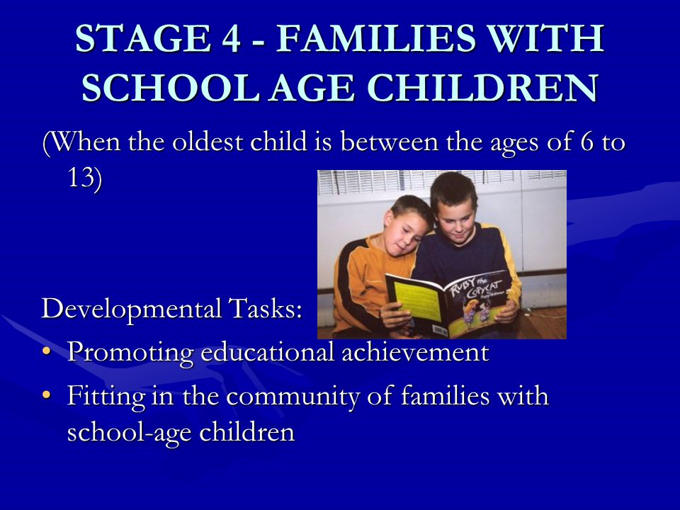 STAGE 4 - FAMILIES WITH SCHOOL AGE CHILDREN (When the oldest child is between the ages of 6 to 13) Developmental Tasks: Promoting educational achievementPromoting educational achievement Fitting in the community of families with school-age childrenFitting in the community of families with school-age children