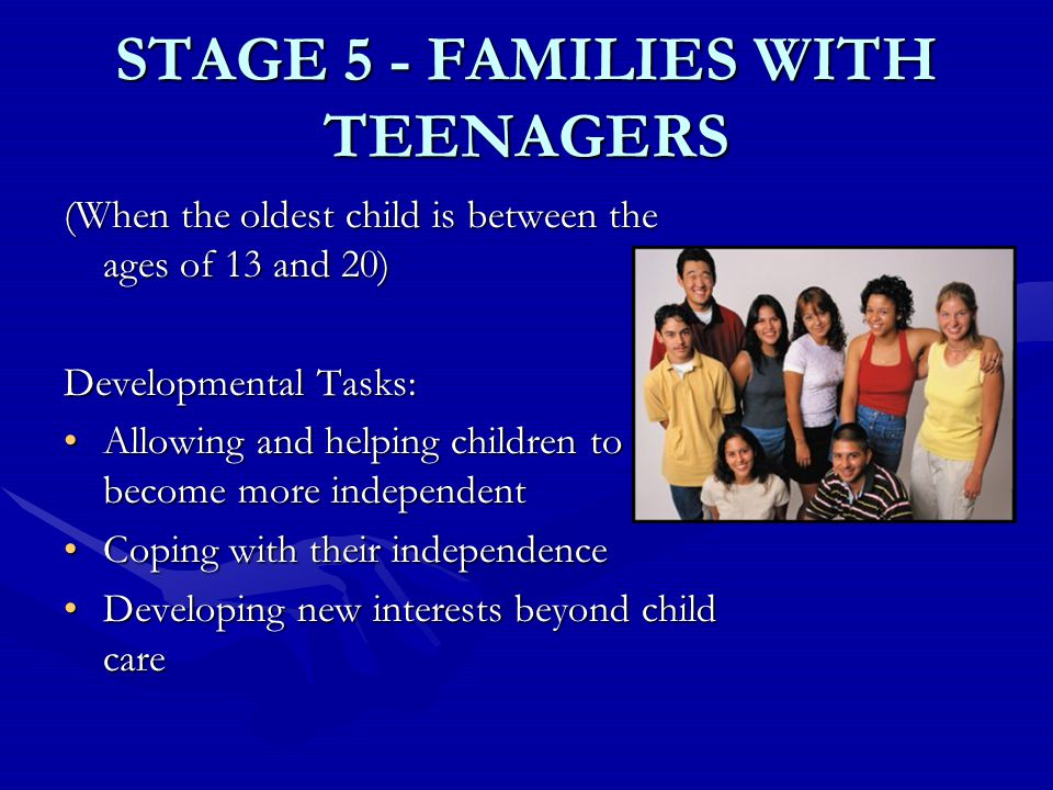 STAGE 5 - FAMILIES WITH TEENAGERS (When the oldest child is between the ages of 13 and 20) Developmental Tasks: Allowing and helping children to become more independentAllowing and helping children to become more independent Coping with their independenceCoping with their independence Developing new interests beyond child careDeveloping new interests beyond child care