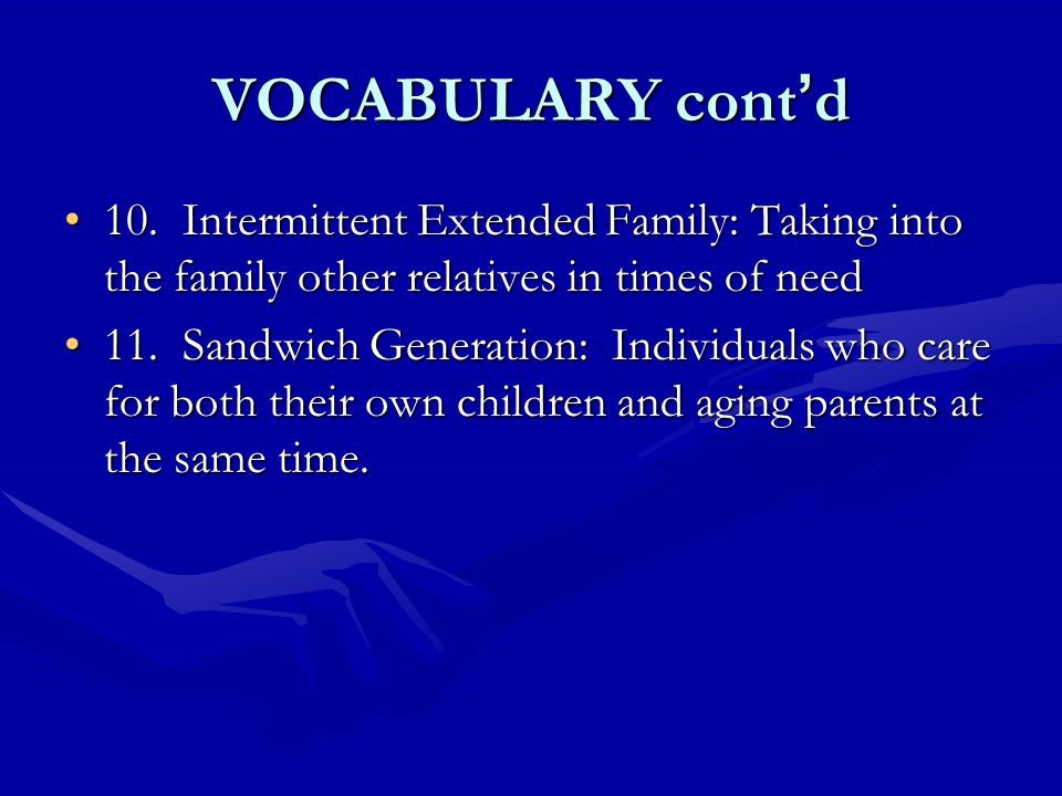 VOCABULARY cont ' d 10. Intermittent Extended Family: Taking into the family other relatives in times of need10. Intermittent Extended Family: Taking
