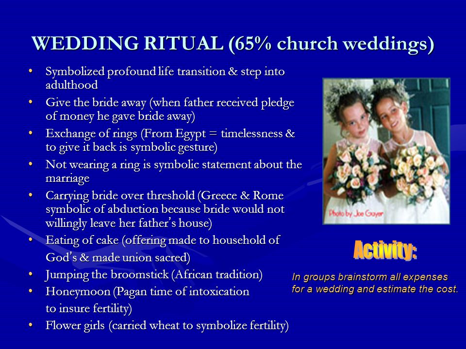 WEDDING RITUAL (65% church weddings) Symbolized profound life transition & step into adulthoodSymbolized profound life transition & step into adulthood Give the bride away (when father received pledge of money he gave bride away)Give the bride away (when father received pledge of money he gave bride away) Exchange of rings (From Egypt = timelessness & to give it back is symbolic gesture)Exchange of rings (From Egypt = timelessness & to give it back is symbolic gesture) Not wearing a ring is symbolic statement about the marriageNot wearing a ring is symbolic statement about the marriage Carrying bride over threshold (Greece & Rome symbolic of abduction because bride would not willingly leave her father ' s house)Carrying bride over threshold (Greece & Rome symbolic of abduction because bride would not willingly leave her father ' s house) Eating of cake (offering made to household ofEating of cake (offering made to household of God ' s & made union sacred) Jumping the broomstick (African tradition)Jumping the broomstick (African tradition) Honeymoon (Pagan time of intoxicationHoneymoon (Pagan time of intoxication to insure fertility) Flower girls (carried wheat to symbolize fertility)Flower girls (carried wheat to symbolize fertility) In groups brainstorm all expenses for a wedding and estimate the cost.