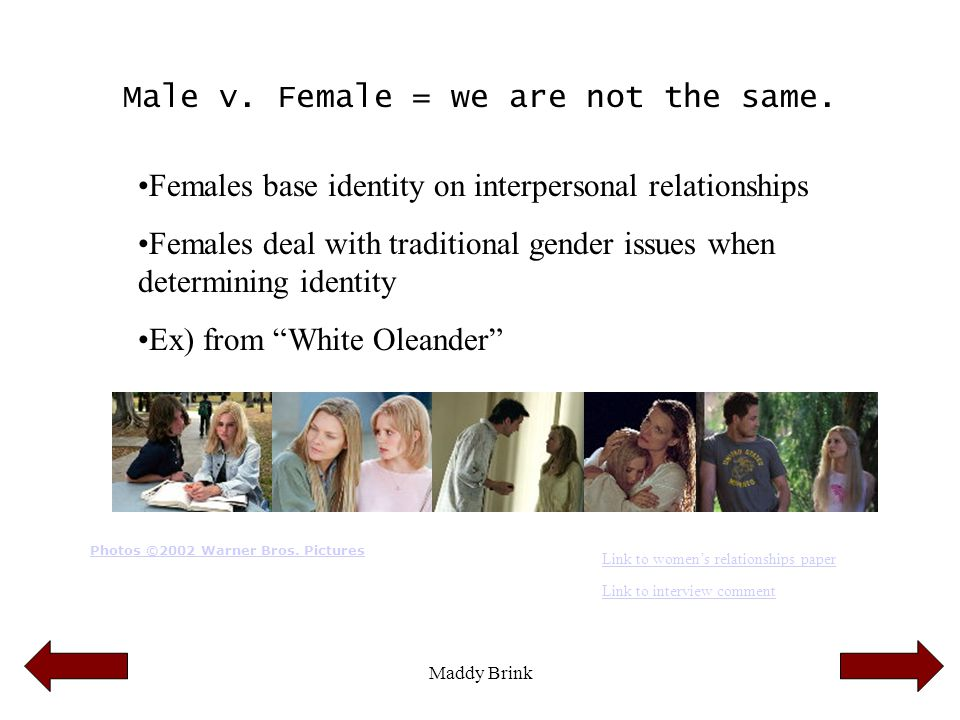 Maddy Brink Male v. Female = we are not the same. Females base identity on interpersonal relationships Females deal with traditional gender issues whe