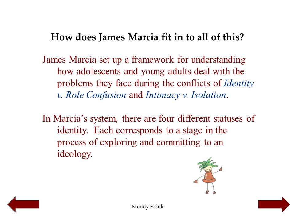 Maddy Brink How does James Marcia fit in to all of this? James Marcia set up a framework for understanding how adolescents and young adults deal with