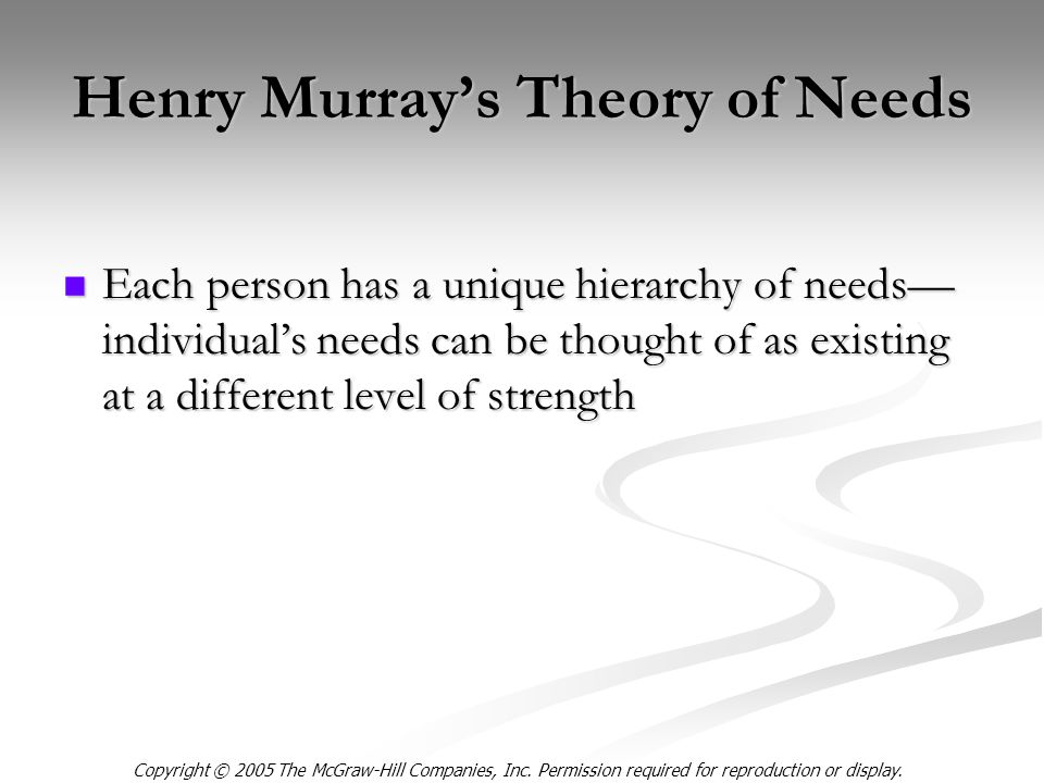 Copyright © 2005 The McGraw-Hill Companies, Inc. Permission required for reproduction or display. Henry Murray's Theory of Needs Each person has a uni