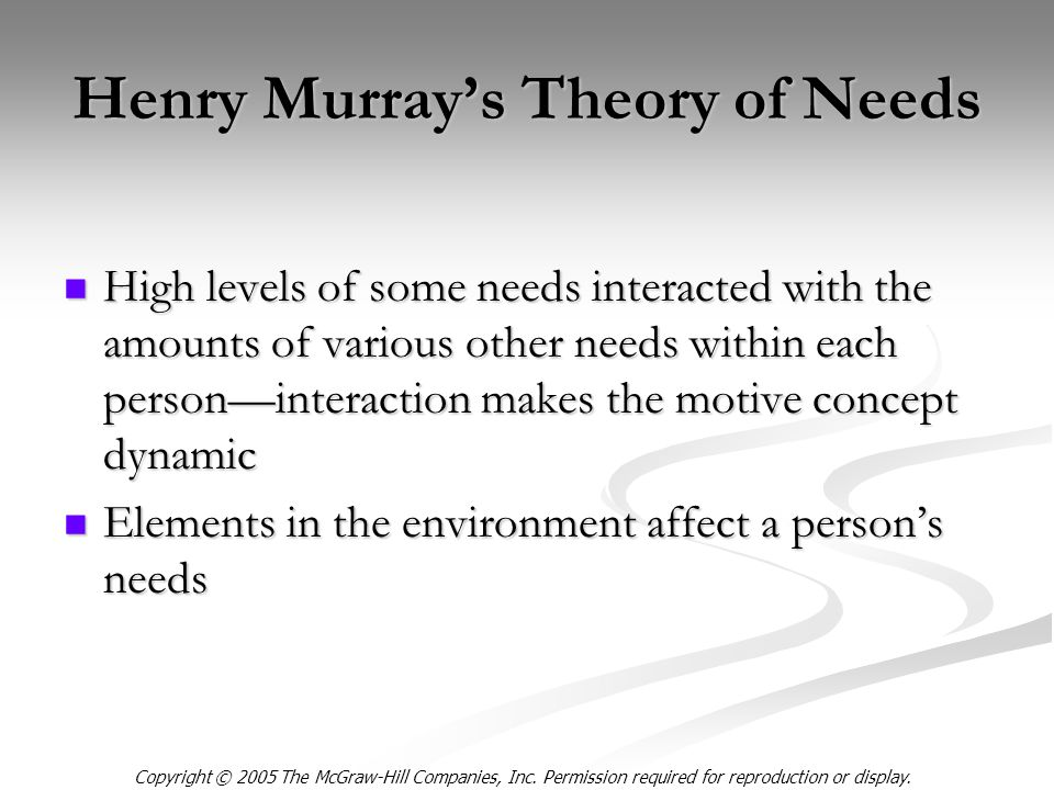 Copyright © 2005 The McGraw-Hill Companies, Inc. Permission required for reproduction or display. Henry Murray's Theory of Needs High levels of some n