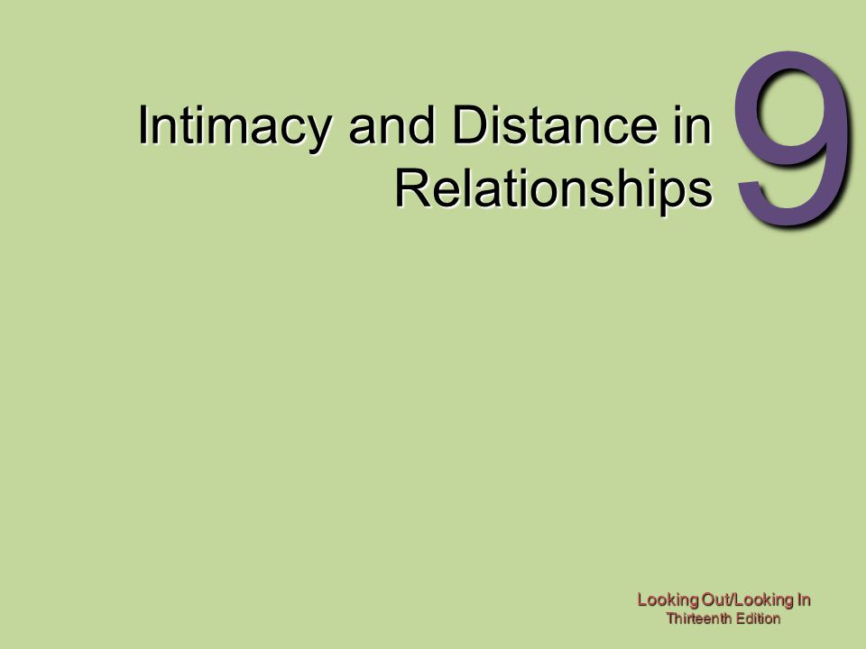 Looking Out/Looking In Thirteenth Edition 9 Intimacy and Distance in Relationships
