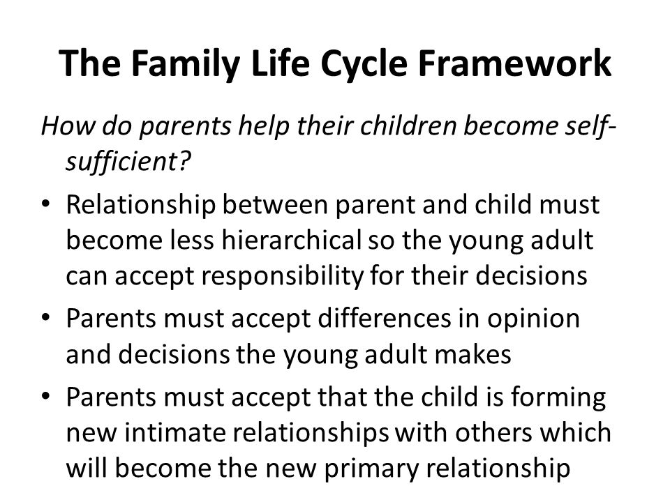 The Family Life Cycle Framework Young adults must master 3 tasks to become self-sufficient adults 1)Individuation – forming an identity separate from