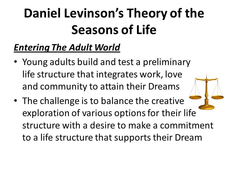 Daniel Levinson's Theory of the Seasons of Life Entering The Adult World Choices of occupation, love relationships and peer relationships may support